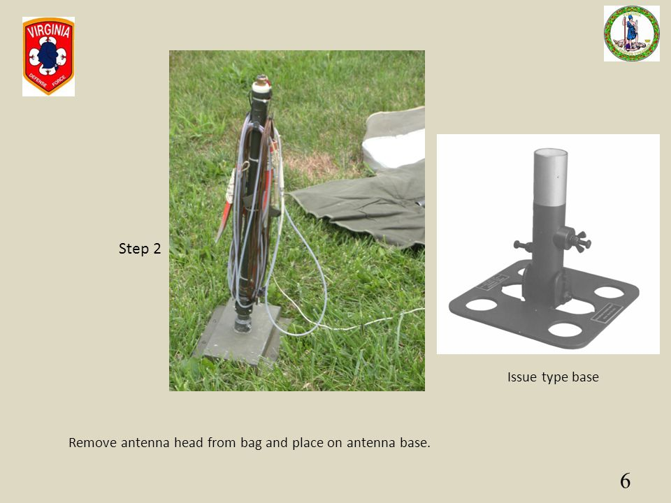 6 Remove antenna head from bag and place on antenna base. Step 2 Issue type base