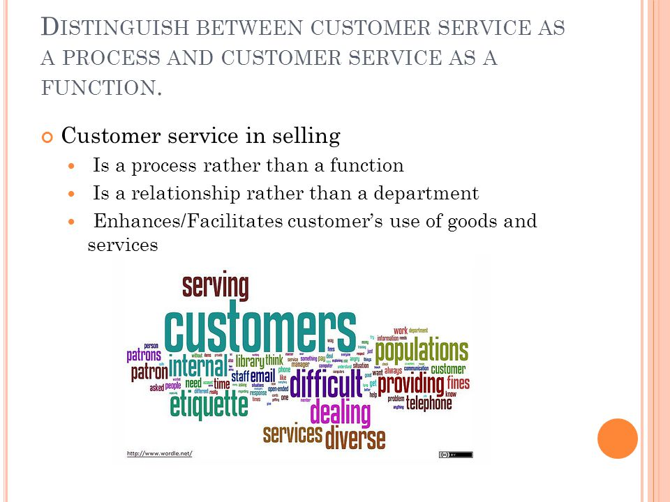 D ISTINGUISH BETWEEN CUSTOMER SERVICE AS A PROCESS AND CUSTOMER SERVICE AS A FUNCTION.
