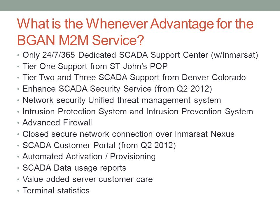 What is the Whenever Advantage for the BGAN M2M Service.