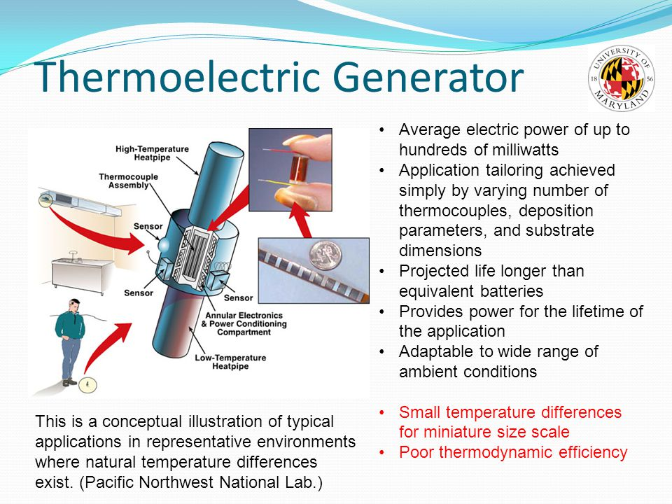 Thermoelectric Generator This is a conceptual illustration of typical applications in representative environments where natural temperature differences exist.