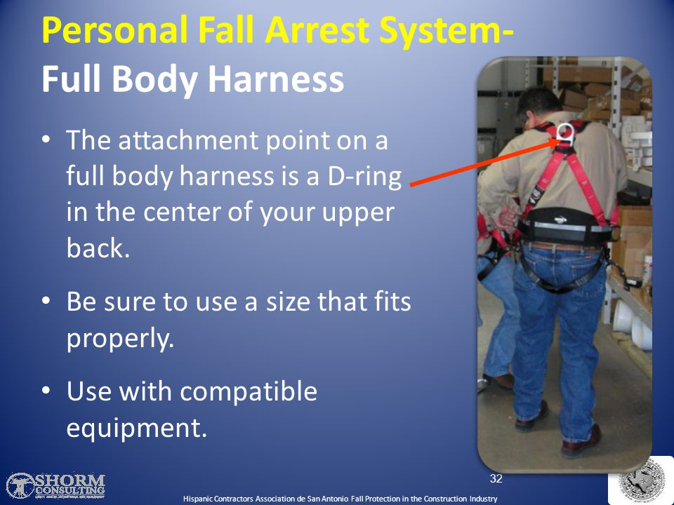 Personal Fall Arrest System- Full Body Harness A full body harness distributes the force of the fall over the thighs, pelvis, waist, chest and shoulde