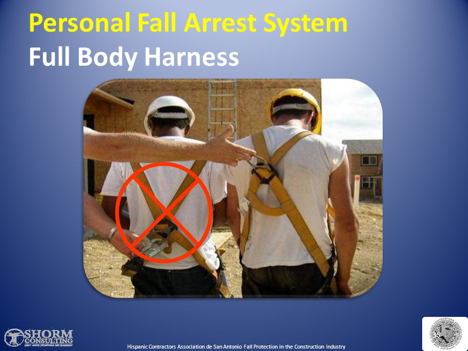 Personal Fall Arrest System- Full Body Harness- Right vs. Wrong Which worker is wearing the harness correctly? Hispanic Contractors Association de San
