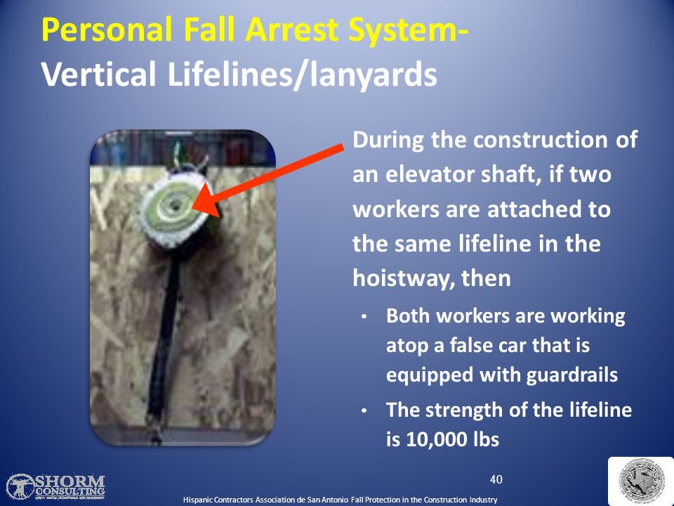  Each worker must be attached to a separate vertical lifeline, except during the construction of an elevator shaft 39 Personal Fall Arrest System- Ve