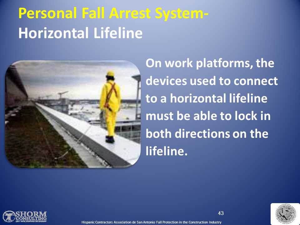 42 Personal Fall Arrest System- Horizontal lifeline Hispanic Contractors Association de San Antonio Fall Protection in the Construction Industry