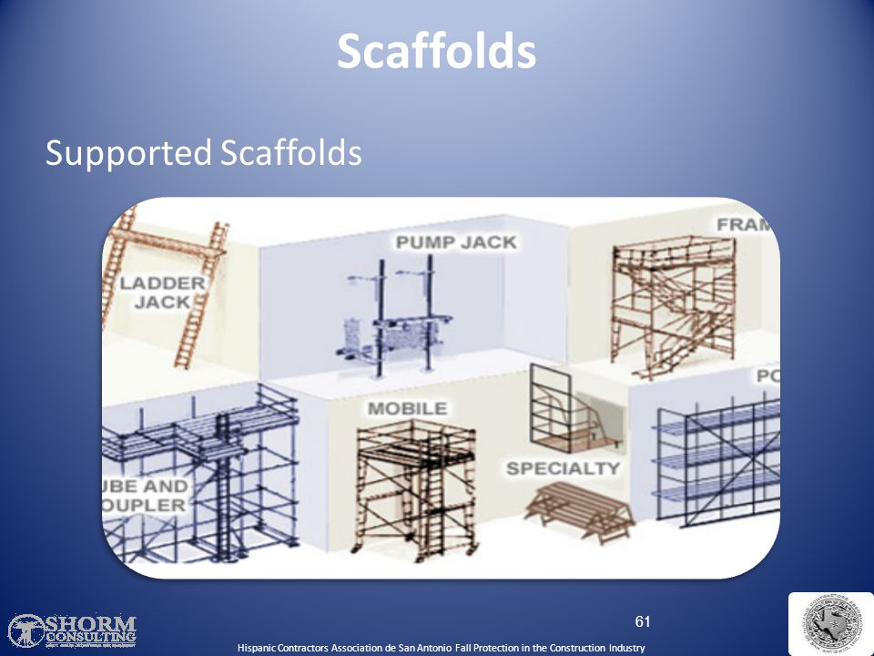60 What Is A Scaffold? An elevated, temporary work platform Three basic types:  Supported scaffolds -- platforms supported by rigid, load bearing mem