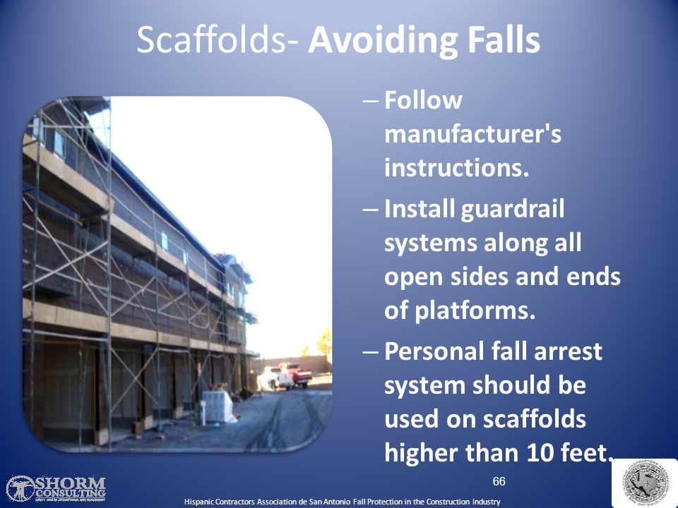 65 Scaffolds- Fall Hazards While climbing on or off the scaffold Working on unguarded scaffold platforms When scaffold platforms or planks fail Falls