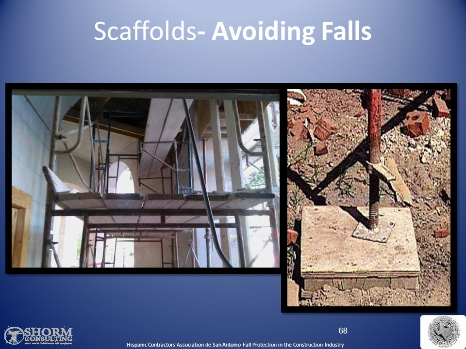 Scaffolds- Avoiding Falls – Height can't be more than 4 times the base width unless guys, ties, or braces are used – Do not work on snow or ice covere