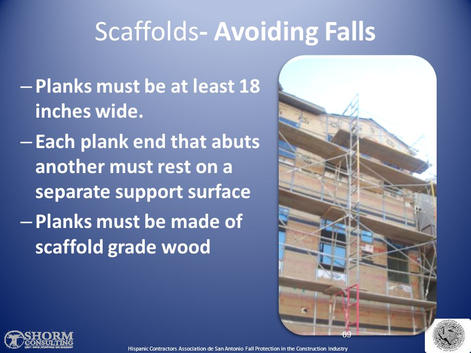 Scaffolds- Avoiding Falls 68 Hispanic Contractors Association de San Antonio Fall Protection in the Construction Industry