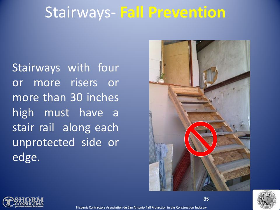84 Rails must be able to withstand a force of 200 pounds Handrail and Top Rail Strength Stairways- Fall Prevention Hispanic Contractors Association de
