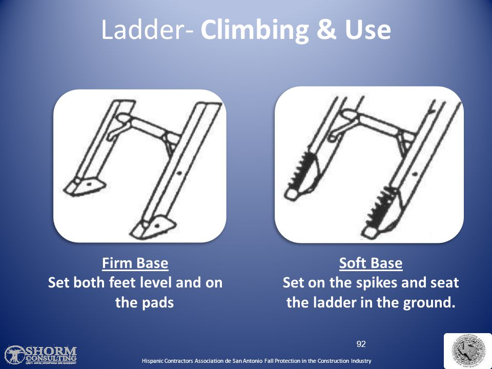 91 Secure ladders to prevent accidental movement due to workplace activity Only use ladders on stable and level surfaces, unless secured Do not use la