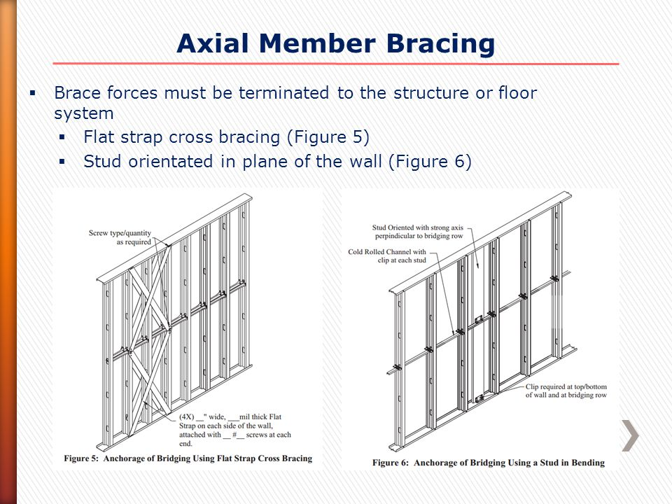 Axial Member Bracing  Brace forces must be terminated to the structure or floor system  Flat strap cross bracing (Figure 5)  Stud orientated in pla