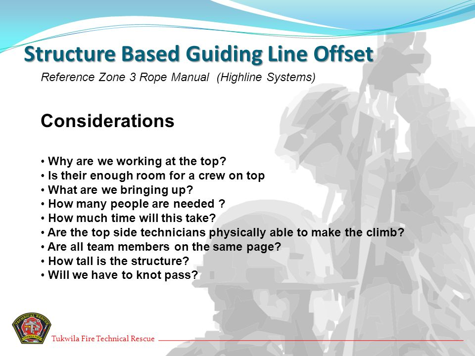 Ground Based Guiding Line Offset Reference Zone 3 Rope Manual (Highline Systems) Considerations How Tall is the structure.