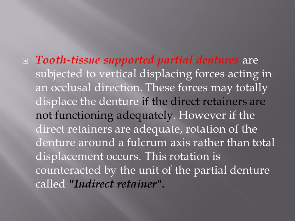 F This Movement Is Related To Quality Of The Tissue, Extent Of Denture Base And Its Fit And The Amount Of Force Applied Support