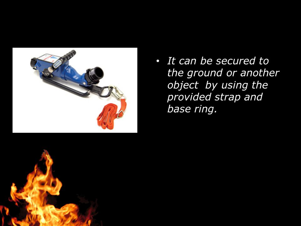 It can be secured to the ground or another object by using the provided strap and base ring.