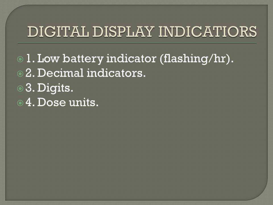  1. Low battery indicator (flashing/hr).  2. Decimal indicators.  3. Digits.  4. Dose units.