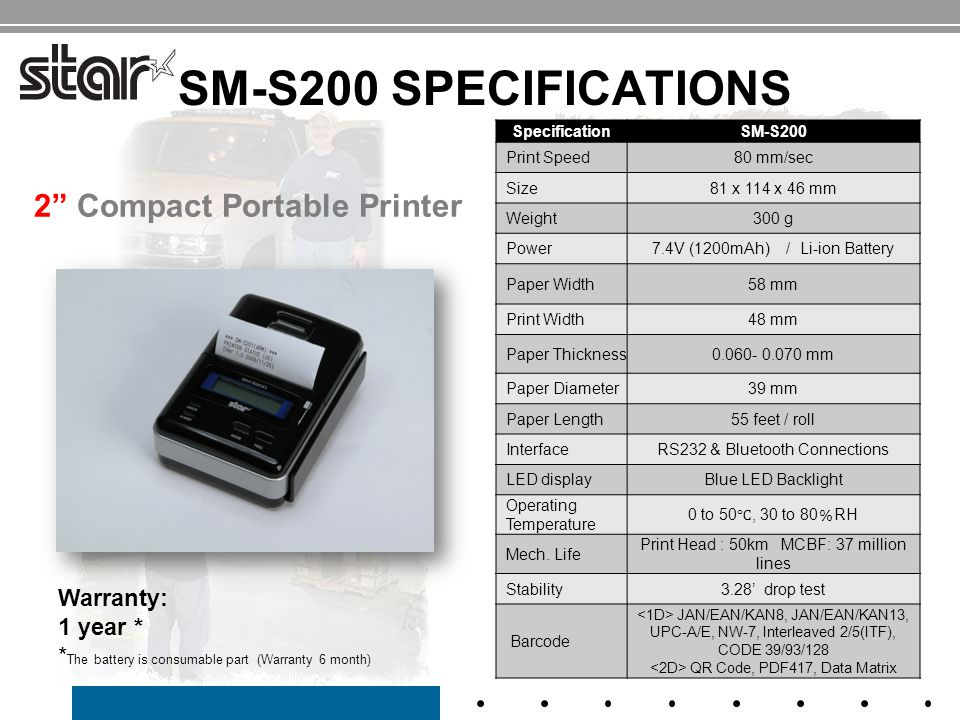 SM-S200 SPECIFICATIONS 2 Portable Printer SpecificationSM-S200 Print Speed80 mm/sec Size81 x 114 x 46 mm Weight300 g Power7.4V (1200mAh) / Li-ion Battery Paper Width58 mm Print Width48 mm Paper Thickness0.060- 0.070 mm Paper Diameter39 mm Paper Length55 feet / roll InterfaceRS232 & Bluetooth Connections LED displayBlue LED Backlight Operating Temperature 0 to 50 ℃, 30 to 80 % RH Mech.