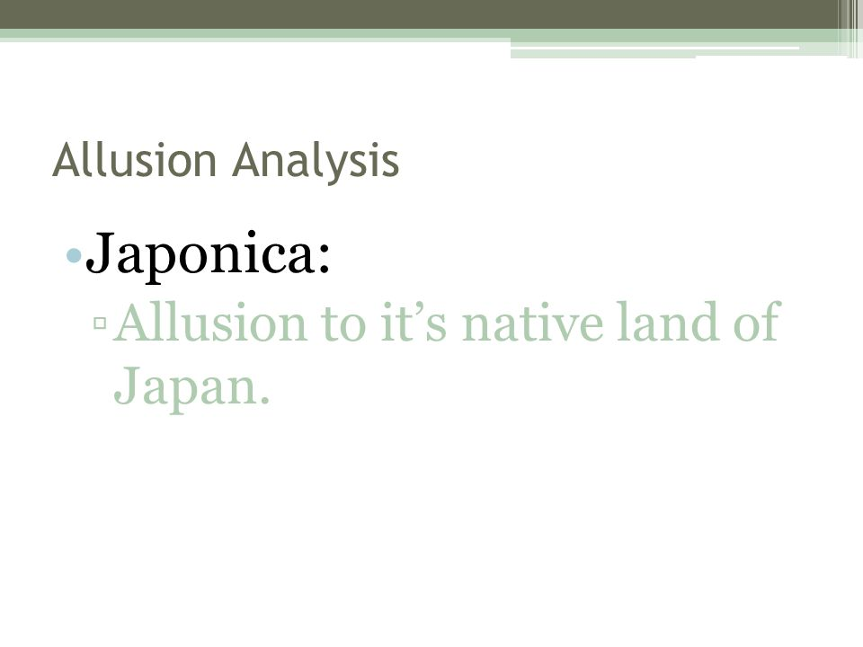 Allusion Analysis Japonica: ▫Allusion to it's native land of Japan.