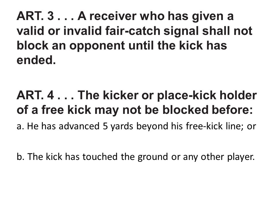 ART.5... A player shall not clip or block an opponent in the back except: a.