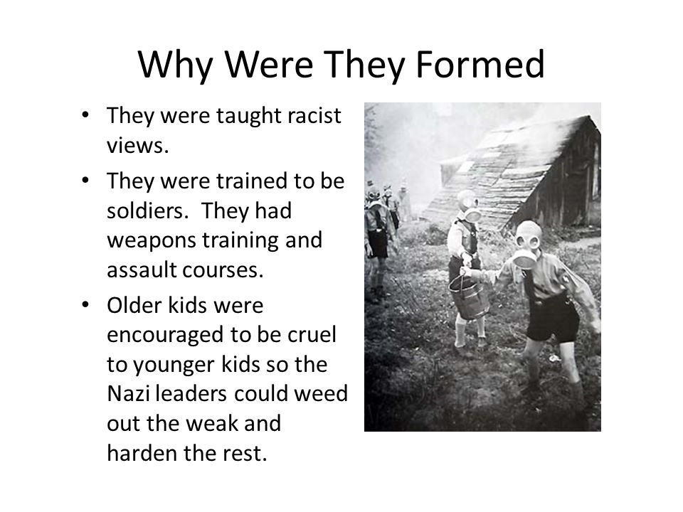 Why Were They Formed They were taught racist views. They were trained to be soldiers. They had weapons training and assault courses. Older kids were e
