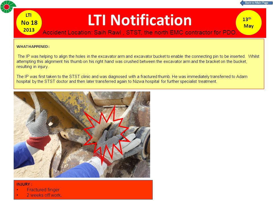 LTI Notification 13 th May LTI No 18 2013 WHAT HAPPENED : The IP was helping to align the holes in the excavator arm and excavator bucket to enable the connecting pin to be inserted.