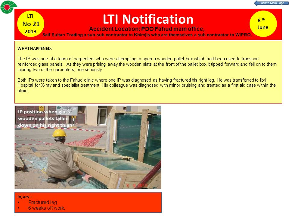 LTI Notification 8 th June LTI No 21 2013 WHAT HAPPENED : The IP was one of a team of carpenters who were attempting to open a wooden pallet box which had been used to transport reinforced glass panels.