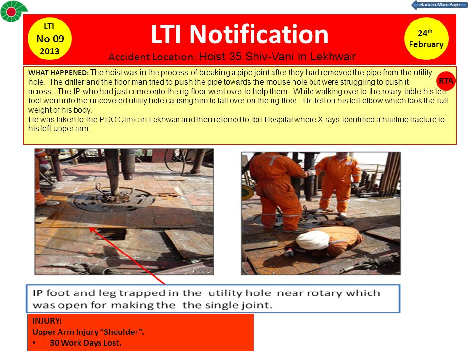 LTI Notification 24 th February LTI No 09 2013 WHAT HAPPENED: The hoist was in the process of breaking a pipe joint after they had removed the pipe from the utility hole.
