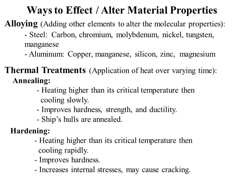 Thermal Treatments (Application of heat over varying time): Hardening: - Heating higher than its critical temperature then cooling rapidly.