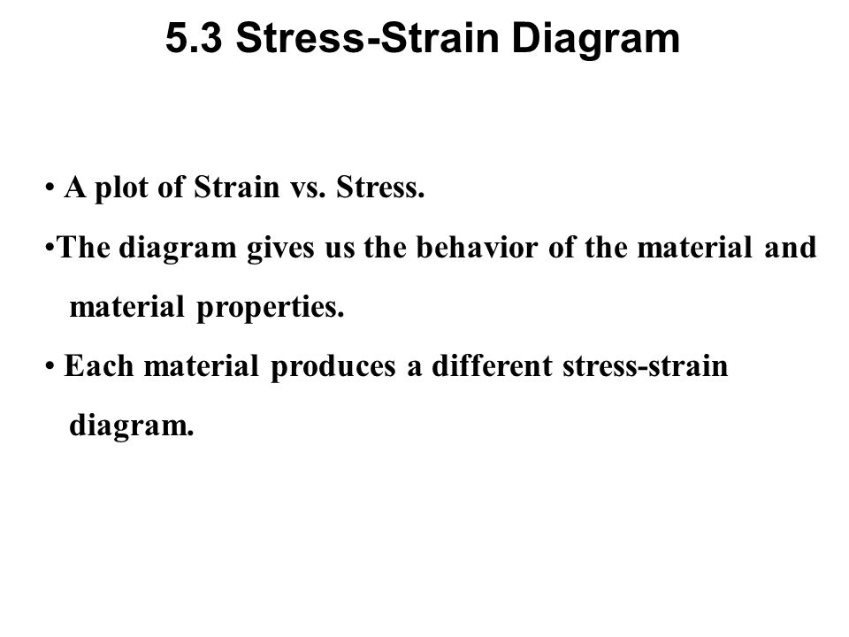5.3 Stress-Strain Diagram A plot of Strain vs. Stress. The diagram gives us the behavior of the material and material properties. Each material produc