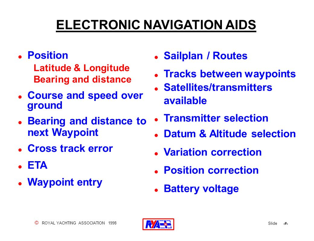© ROYAL YACHTING ASSOCIATION 1998 Slide 140 ELECTRONIC NAVIGATION AIDS ! Position Latitude & Longitude Bearing and distance ! Course and speed over gr