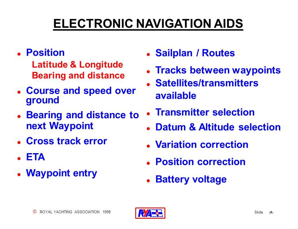 © ROYAL YACHTING ASSOCIATION 1998 Slide 140 ELECTRONIC NAVIGATION AIDS .