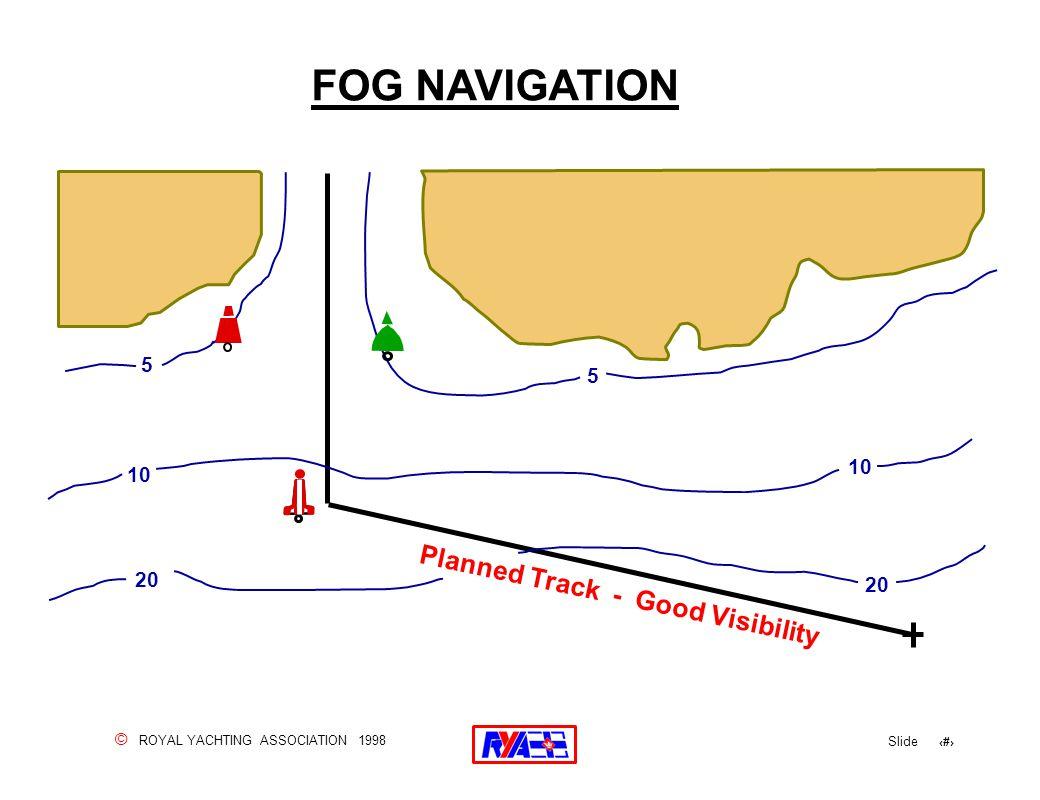 © ROYAL YACHTING ASSOCIATION 1998 Slide 154 FOG NAVIGATION Planned Track - Good Visibility 5 10 20 5 10 20