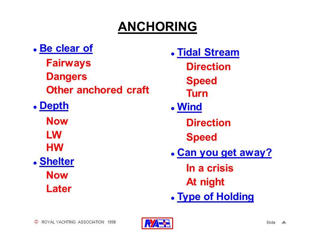 © ROYAL YACHTING ASSOCIATION 1998 Slide 22 ANCHORING .