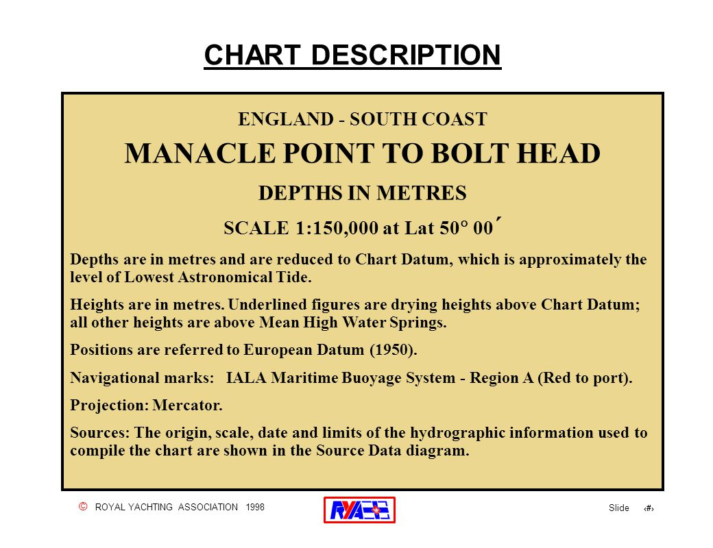 © ROYAL YACHTING ASSOCIATION 1998 Slide 28 CHART DESCRIPTION ENGLAND - SOUTH COAST MANACLE POINT TO BOLT HEAD DEPTHS IN METRES SCALE 1:150,000 at Lat 50  00 ´ Depths are in metres and are reduced to Chart Datum, which is approximately the level of Lowest Astronomical Tide.