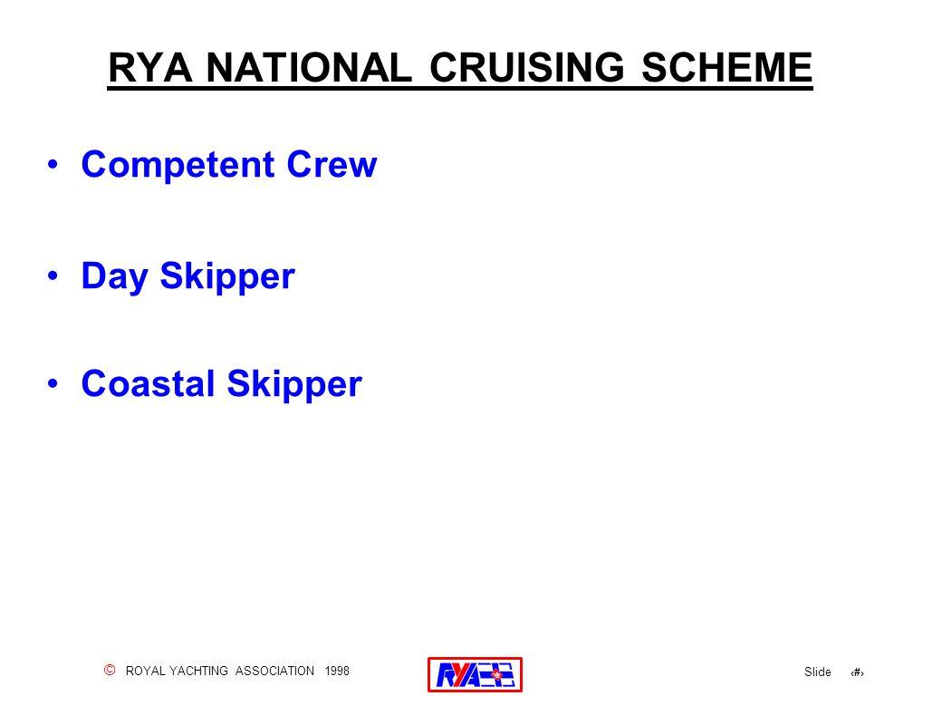 © ROYAL YACHTING ASSOCIATION 1998 Slide 3 RYA NATIONAL CRUISING SCHEME Competent Crew Day Skipper Coastal Skipper