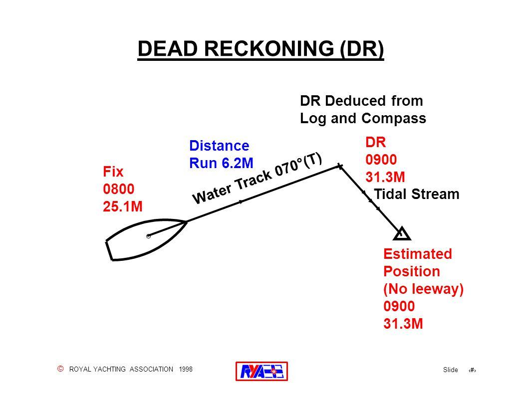 © ROYAL YACHTING ASSOCIATION 1998 Slide 35 DEAD RECKONING (DR).