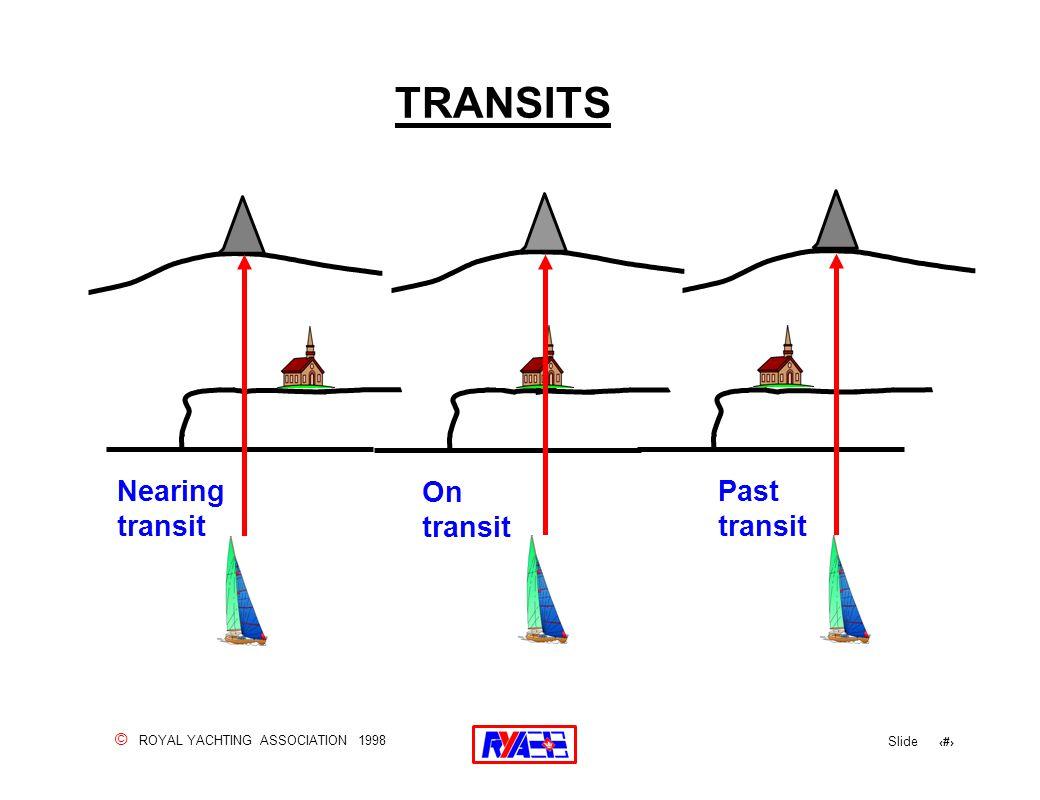 © ROYAL YACHTING ASSOCIATION 1998 Slide 59 TRANSITS Nearing transit On transit Past transit