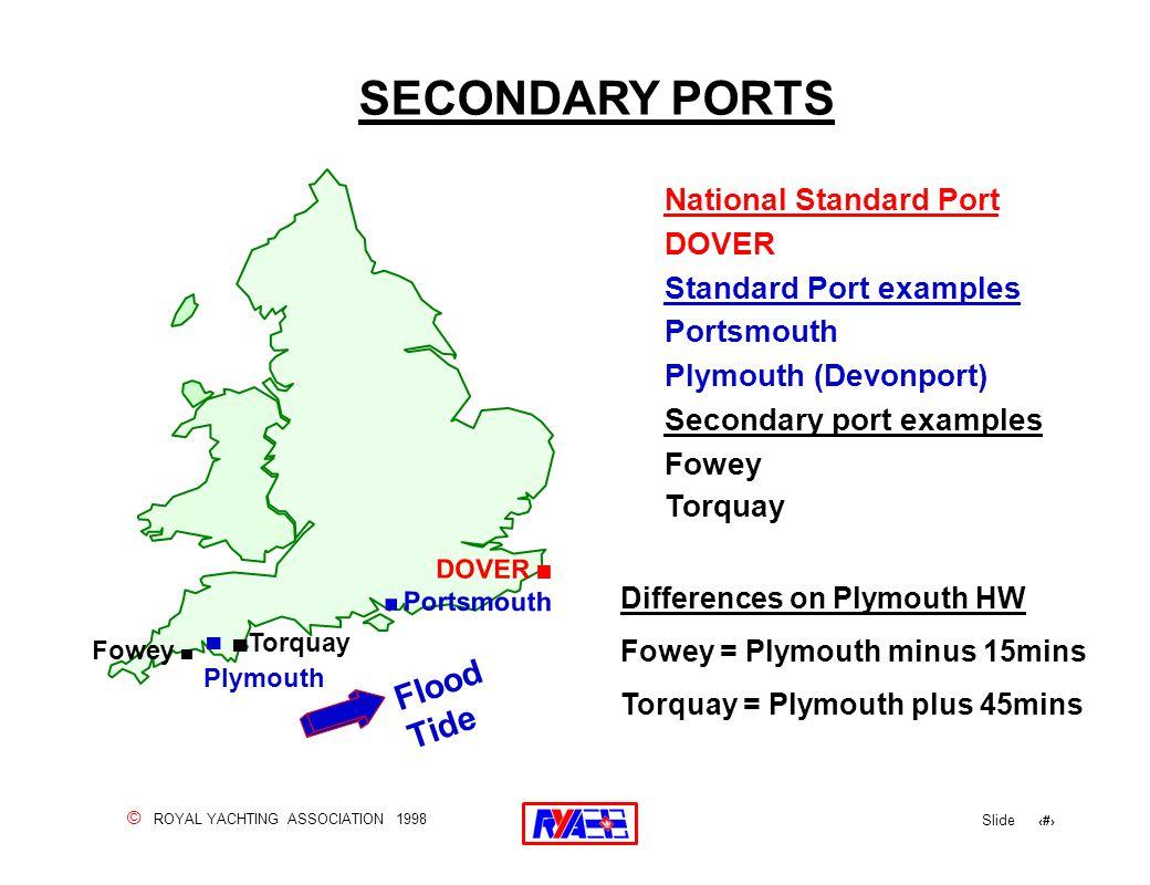 © ROYAL YACHTING ASSOCIATION 1998 Slide 81 SECONDARY PORTS National Standard Port DOVER Standard Port examples Portsmouth Plymouth (Devonport) Seconda