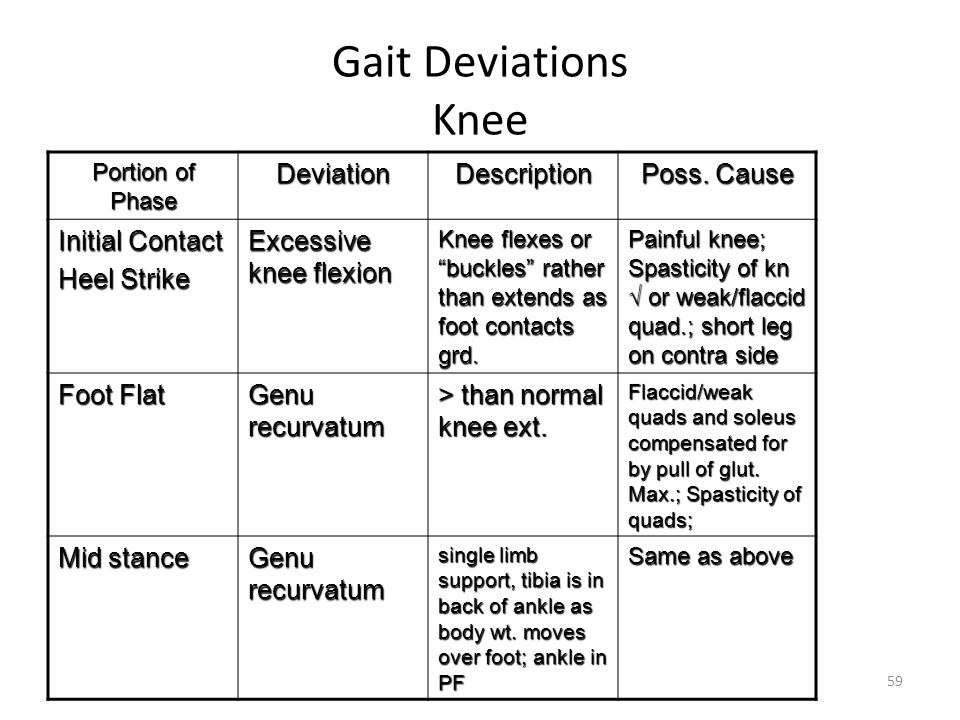 """Gait Deviations Knee Portion of Phase DeviationDescription Poss. Cause Initial Contact Heel Strike Excessive knee flexion Knee flexes or """"buckles"""" rat"""