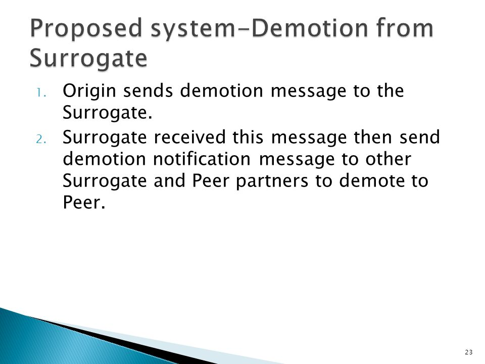 1. Origin sends demotion message to the Surrogate.