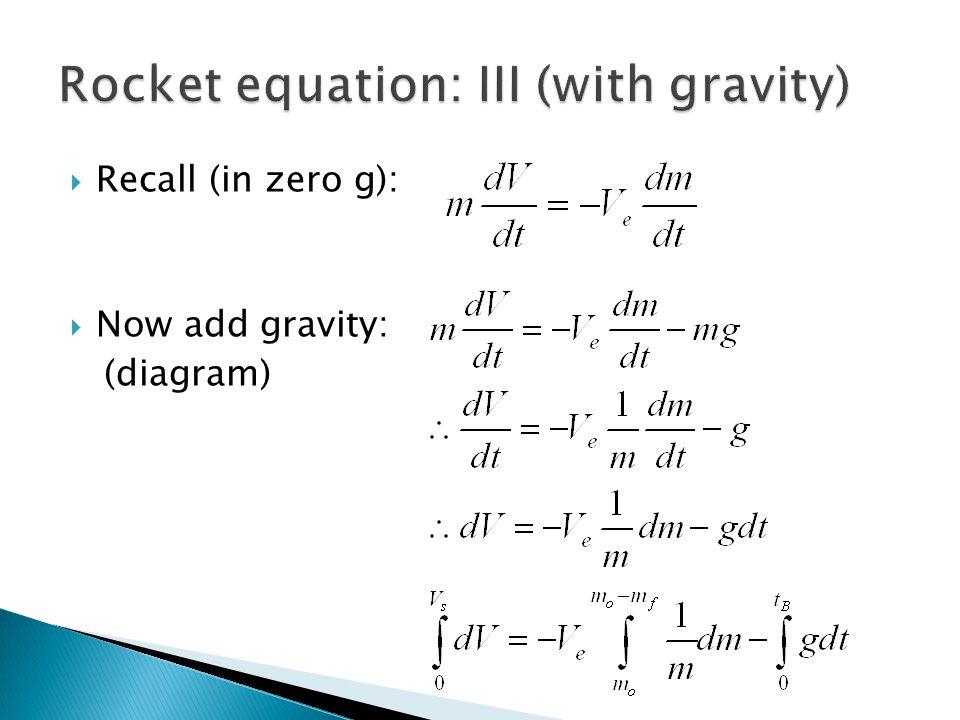  Recall (in zero g):  Now add gravity: (diagram)