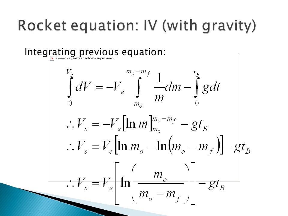 Integrating previous equation:
