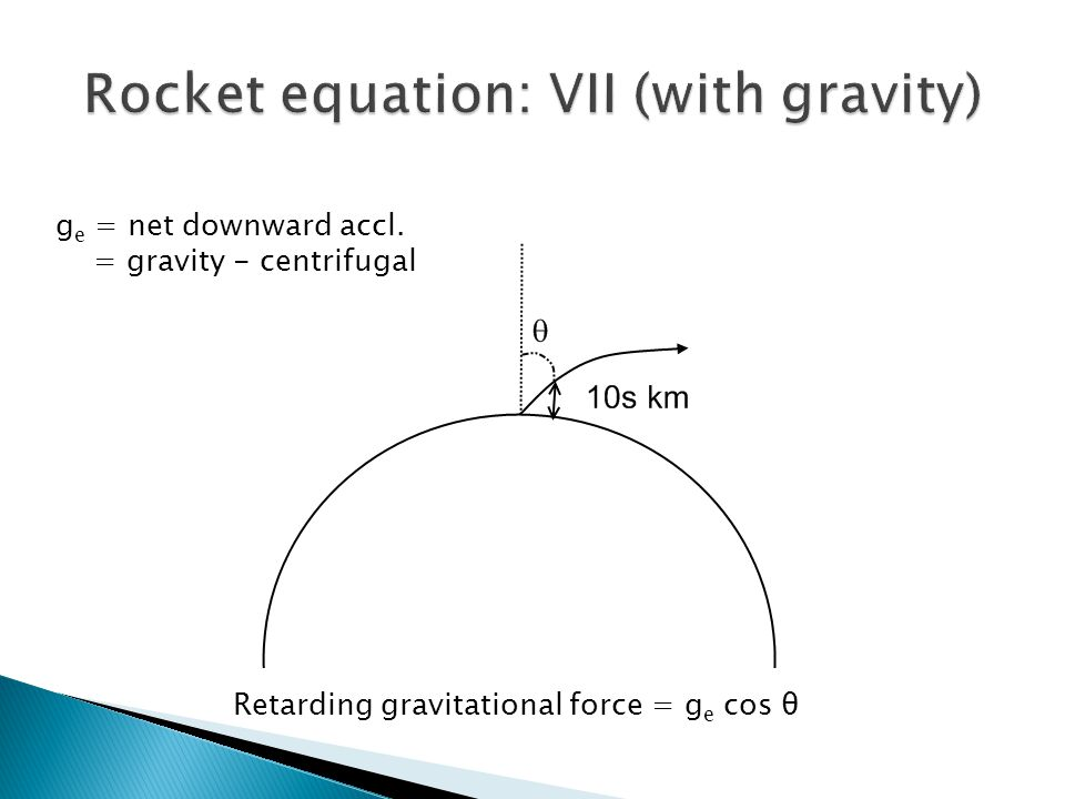 Retarding gravitational force = g e cos θ g e = net downward accl. = gravity - centrifugal
