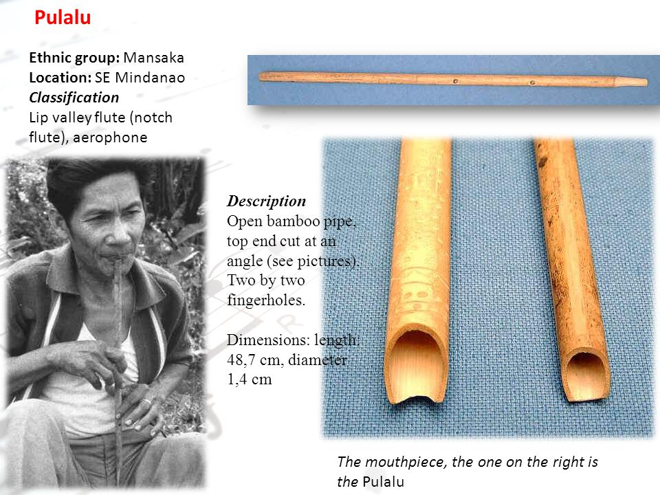 Pulalu Ethnic group: Mansaka Location: SE Mindanao Classification Lip valley flute (notch flute), aerophone Description Open bamboo pipe, top end cut at an angle (see pictures).