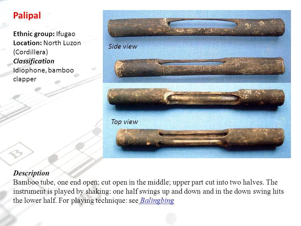 Side view Palipal Ethnic group: Ifugao Location: North Luzon (Cordillera) Classification Idiophone, bamboo clapper Description Bamboo tube, one end open; cut open in the middle; upper part cut into two halves.