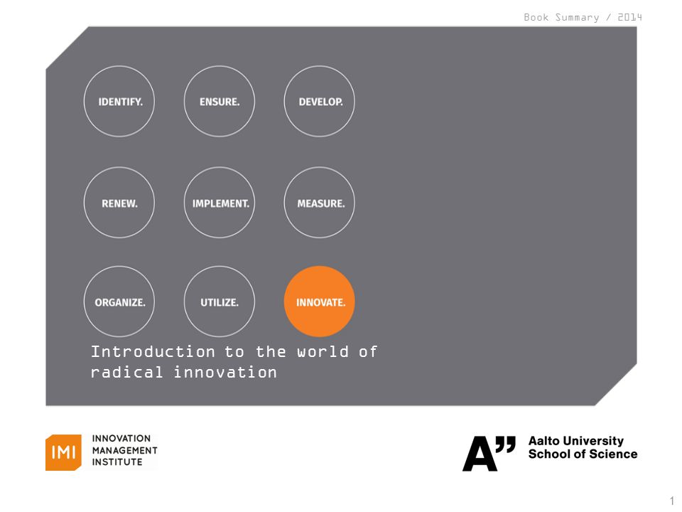 1 Introduction to the world of radical innovation Book Summary / 2014