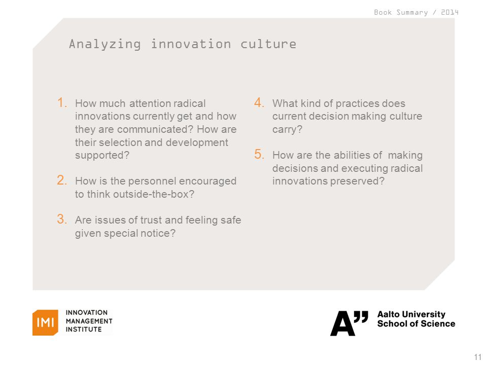 Book Summary / 2014 Analyzing innovation culture 11 1.