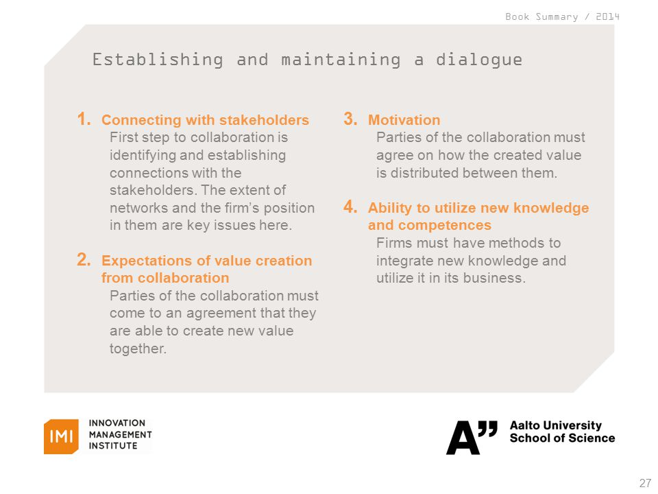 Book Summary / 2014 Establishing and maintaining a dialogue 27 1.