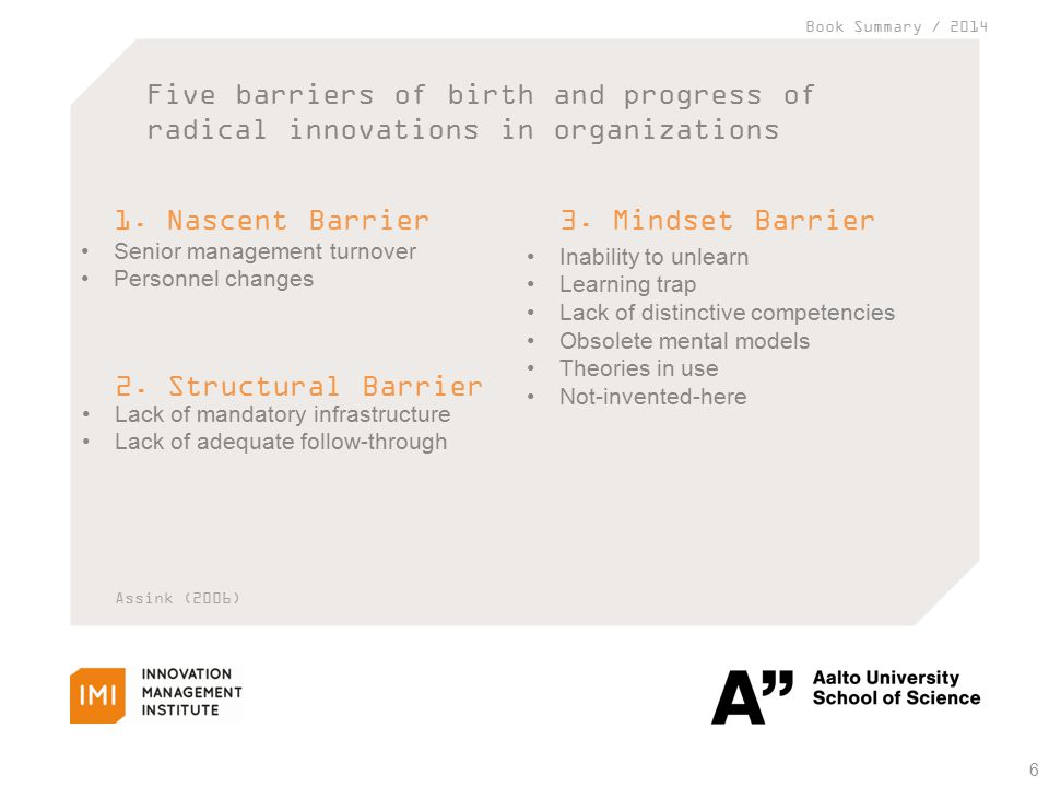 Book Summary / 2014 Five barriers of birth and progress of radical innovations in organizations 6 1.