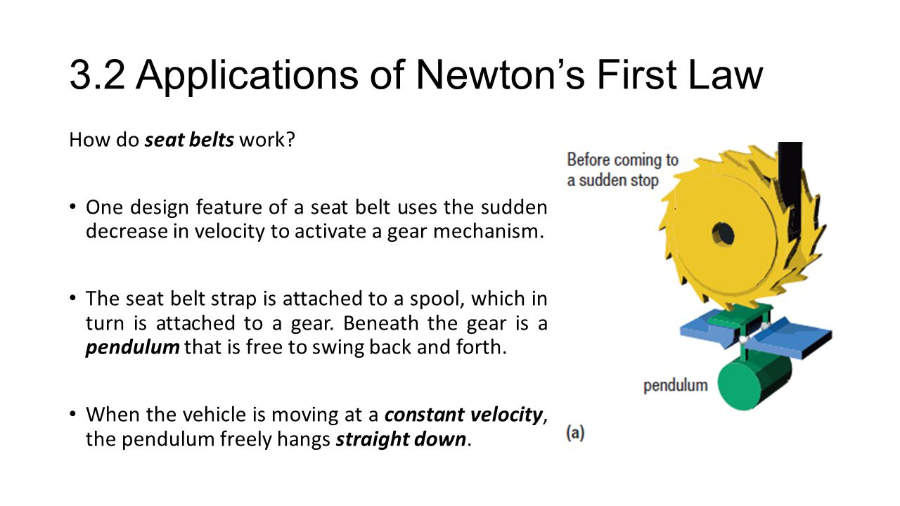 3.2 Applications of Newton's First Law How do seat belts work.
