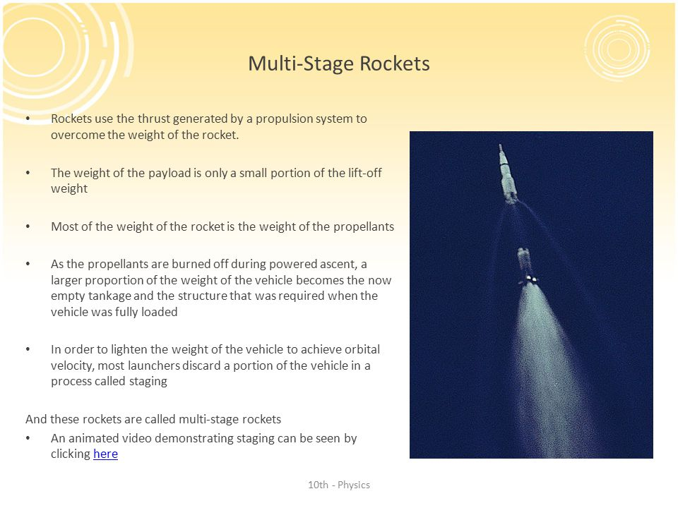 Multi-Stage Rockets Rockets use the thrust generated by a propulsion system to overcome the weight of the rocket.